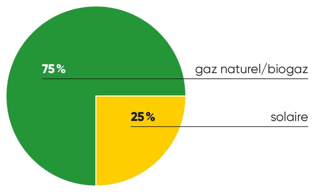 Graphique gaz-naturel/biogaz 75%, solar 25%